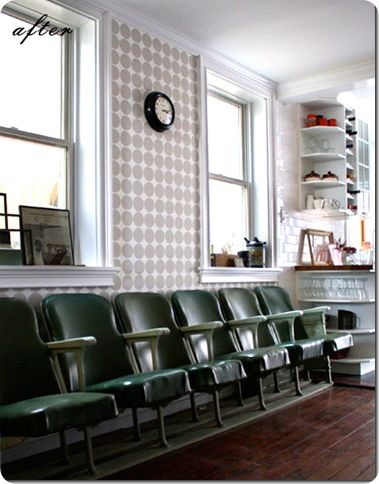 wallpaper, theater seating: Vintage Chairs, Theater Seating, Movie Theater, Polka Dots Wall, Green Theater, Cinema Seats, Seats Row, Theater Seats, Green Chairs