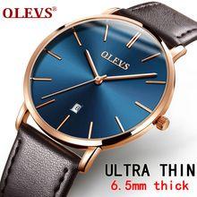 Homens relógios de luxo da marca olevs quartzo genuína pulseira de couro minimalista ultrafinos relógios de pulso à prova d' água de alta qualidade relogio(China (Mainland))