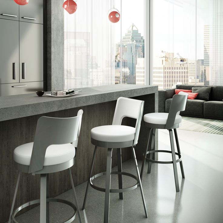 the benson bar stool features a rounded back with upholstered cushions and a swivel seat - Amisco Bar Stools