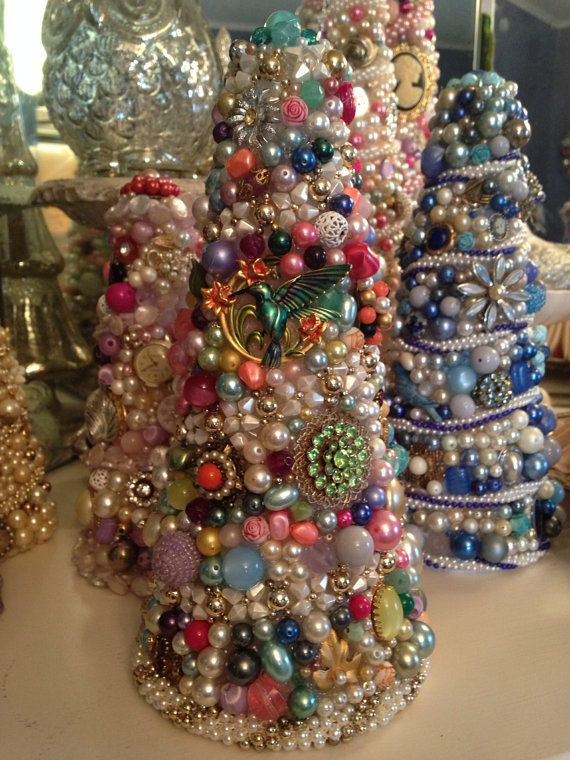 "Vintage Jewelry Tree OOAK 9.5"" Blue Pink Green Rhinestones Pearls Brooches Chic on Etsy, $65.00"