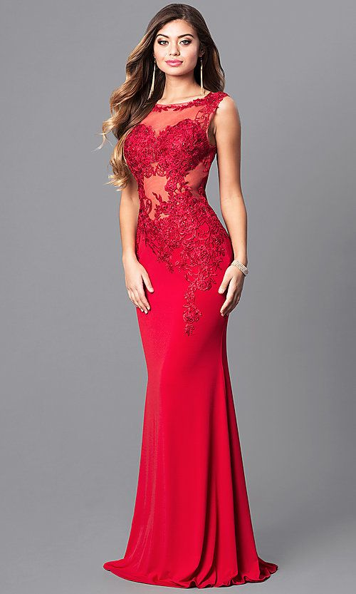 c597ee53ffb3 Lace-Applique Red Prom Dress from JVNX by Jovani in 2019 | Mia Prom ...