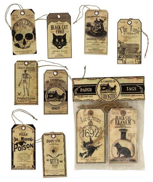 A Cabinet of Curiosities Paper Tags Coordinates nicely with our Apothecary Shoppe Halloween Collection. Hang these vintage inspired tags on Halloween trees, tie