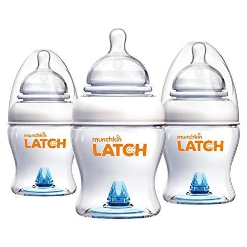 3 Pack - Munchkin Latch Baby Bottle, 4oz Buy it today from www.presentbaby.com  We sell a wide array of baby clothing, socks, shoes, bottles, blankets and more. For more information visit our website today.  #baby #bottles #romper #dresses #neutral #socks https://presentbaby.com