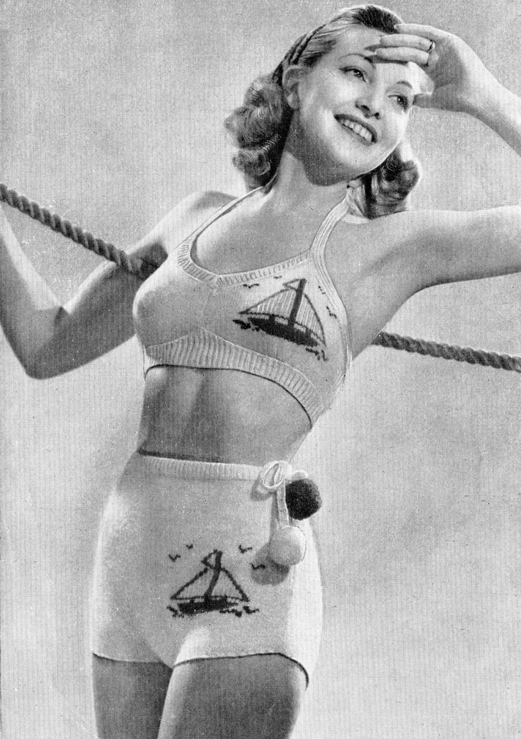 Vintage 40s knitted Two-Piece Bathing Suit PDF Pattern BIKINI UK. $3.75, via Etsy.
