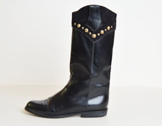 Vintage 90s Leather Riding Boots / 1990s BLACK Studded Knee High Boots