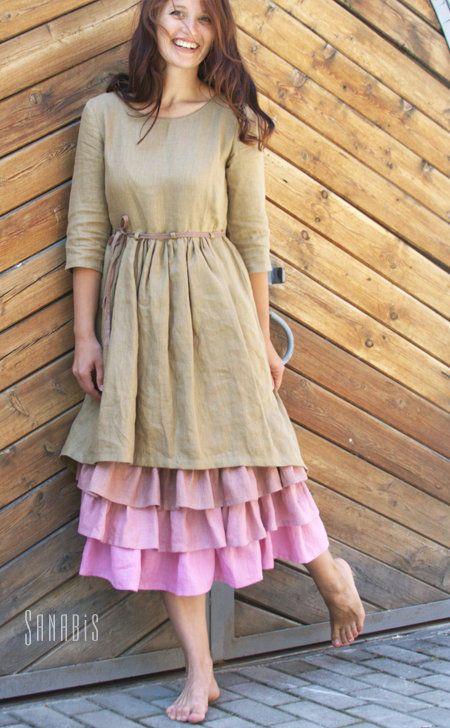 Купить Многослойное платье из льна «Чайная роза» - розовый, однотонный, льняное платье, платье из льна