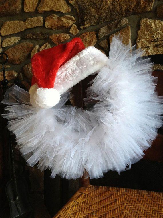 Santa Tulle Wreath by DesignsbyEstee on Etsy, $35.00