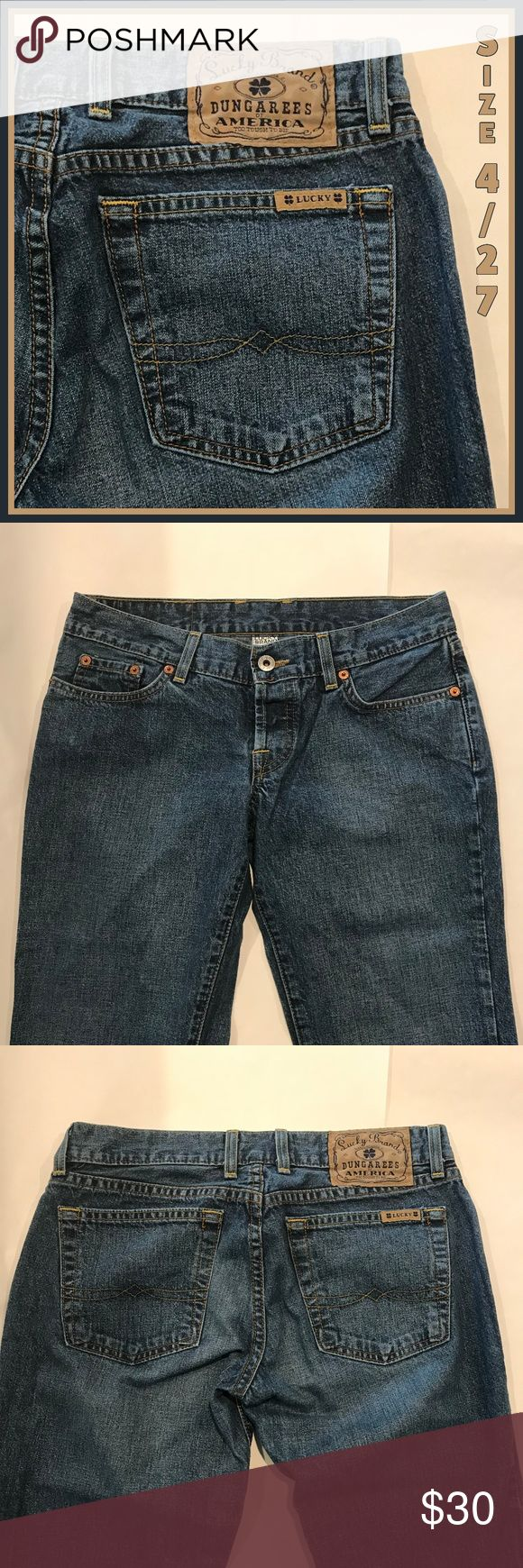 🍇 Lucky Brand Dungarees Jeans Blue Bootcut 4 27 I love the classic dungaree look of these jeans from Lucky Brand. They are in EUC and ready to become your favorite pair!  Measurements:  •	Waist, laying flat across front:  •	Inseam:  •	Rise:   From a smoke-free and happy-to-bundle closet.  No trades or transactions outside of Poshmark. [T1039] Lucky Brand Jeans Boot Cut