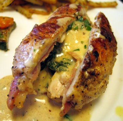 Chicken stuffed with spinach, prosciutto and Boursin cheese   for tonite =)