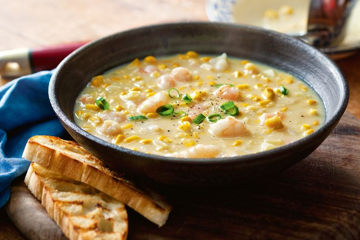 Beat the Monday night blues with this soulful seafood soup. Fresh and canned corn give this creamy prawn soup crunch, texture and sweetness.
