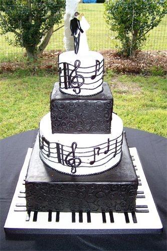 Black and white musical wedding cake. Nice!