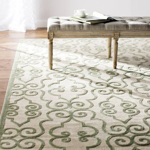 Featuring A Scrollwork Inspired Pattern In A Soothing Gray And White Palette The Robicheaux Cream X2f Light Green Ar Green Area Rugs Area Rugs Cream Area Rug
