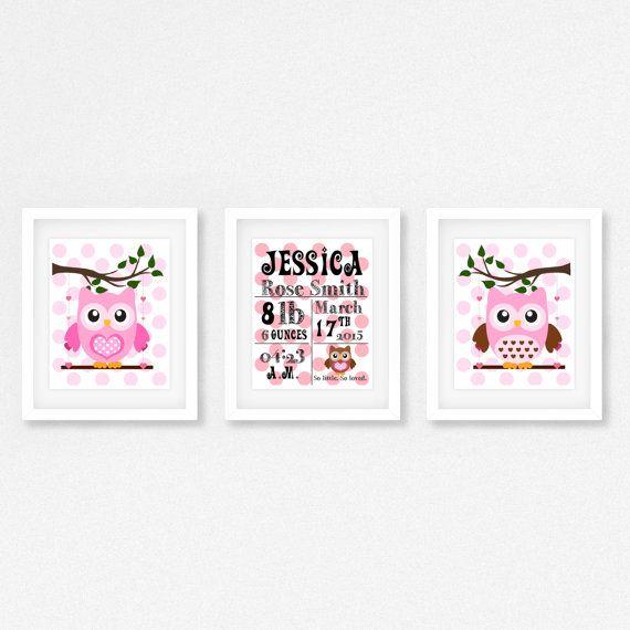 Decor van de kwekerij van het meisje van de baby, Baby meisje cadeau, uil kinderkamer Print nieuwe babygift, aangepaste geboorte Print, gepersonaliseerde kunst aan de muur kinderkamer