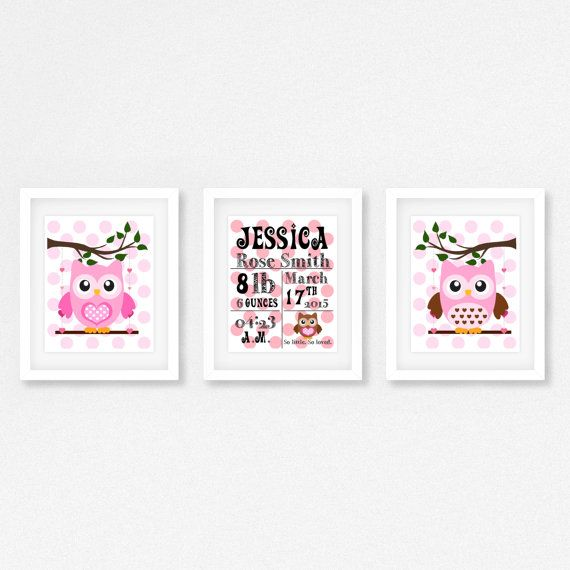 Baby Girl Nursery Decor Owl Nursery Print by PerfectLittlePrints