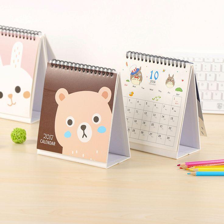 2017 Lucu Kartun kalender kalender Meja kalender desktop ide hadiah kertas buku Rencana kawaii perlengkapan Kantor mahasiswa