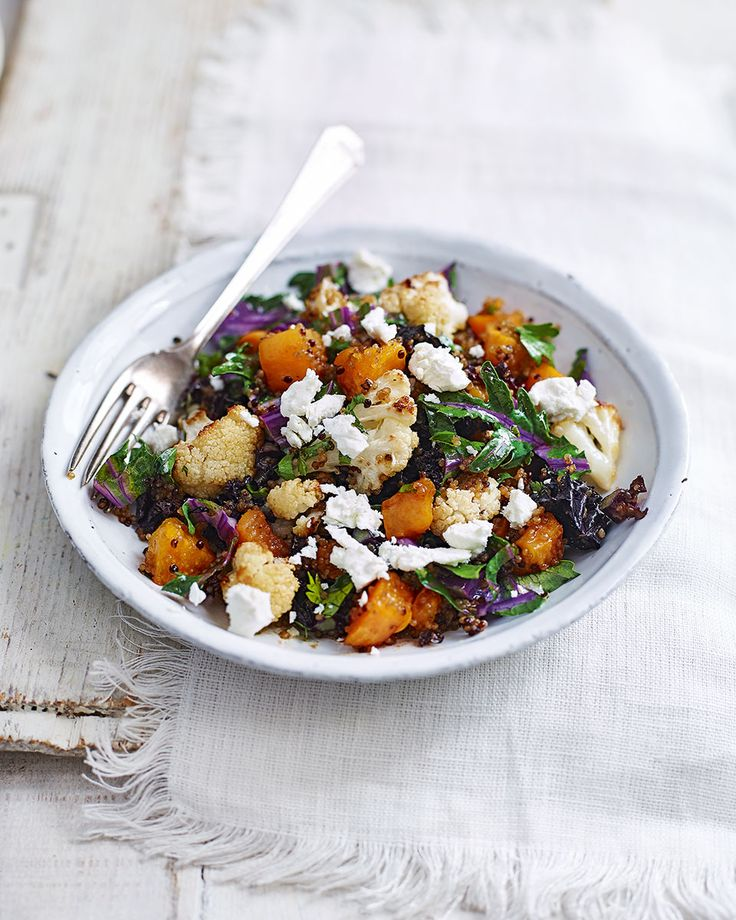 Make the most of winter vegetables in this warming cauliflower, sweet potato and quinoa recipe.