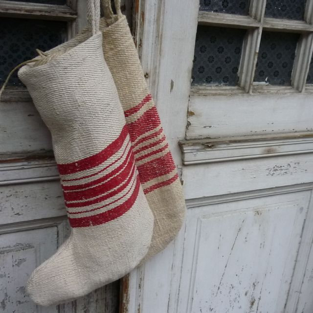 Santa socks from vintage Romanian hemp sacking with bold red stripes and hanging tag Stripes vary Approx 45cm