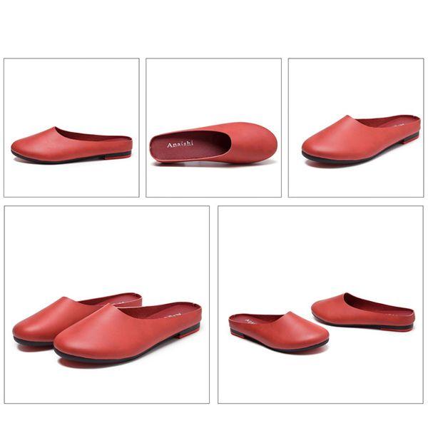 SOCOFY Large Size Leather Backless Slip On Lazy Flat  Shoes