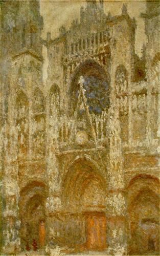 Rouen Cathedral,The Gate, Grey Weather - Claude Monet