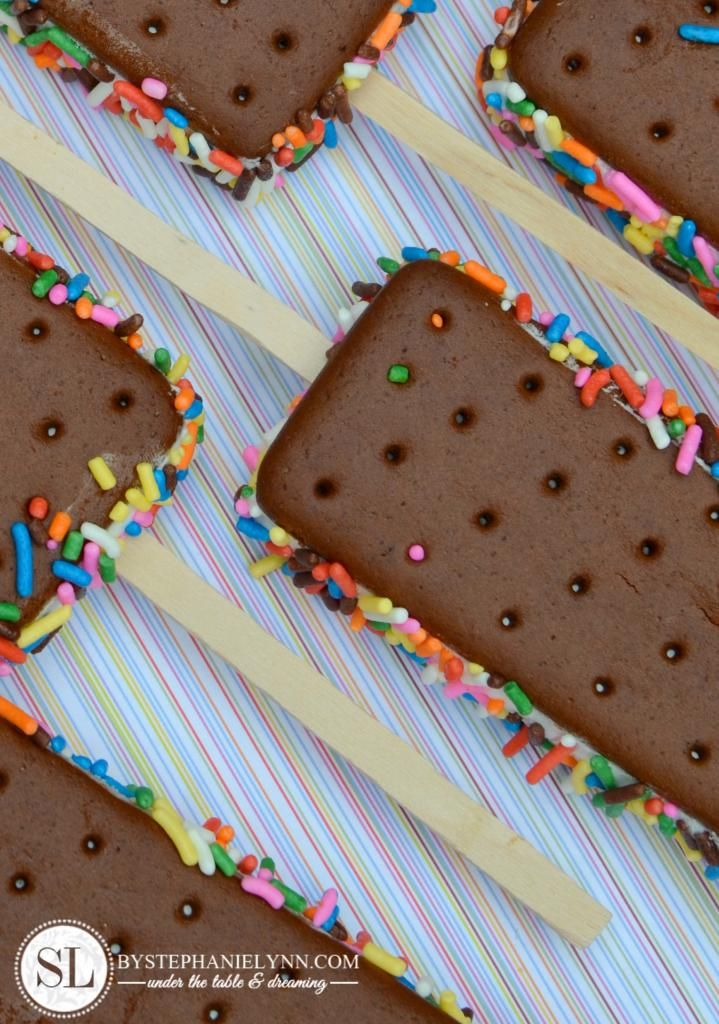 {Ice Cream Sandwich w/ Sprinkles -- on a stick!} Perfect Party Fare