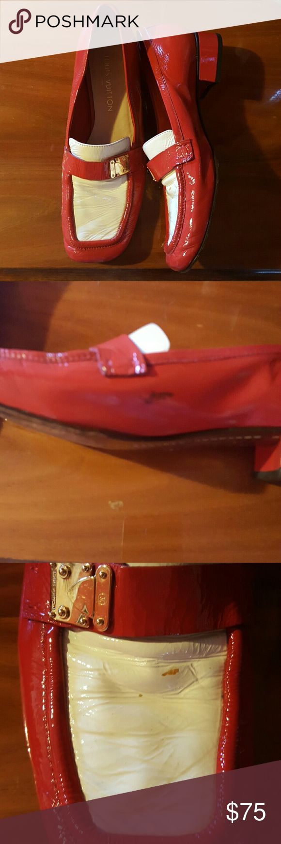 Louis Vuitton loafers Sz 40 These are  great red and white patent leather loafers.  Discolorations noted in pics Louis Vuitton Shoes Flats & Loafers