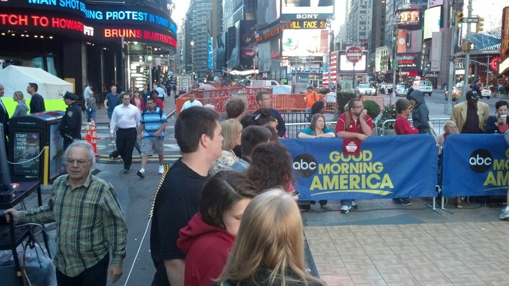 Near the GMA studio waiting to get on TV.