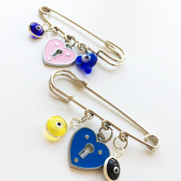 Lucky evil eye safety pin, stroller pin, baby shower gift