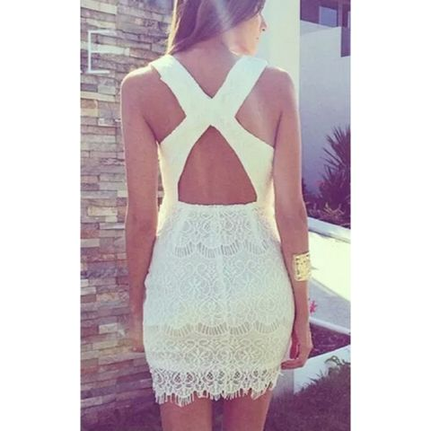 Cutout Back White Lace Dress available now at Ruby Liu! ♥ http://rubyliuboutique.com/collections/lace