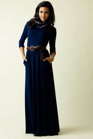 Navy Maxi Dress Knit with attached scarf and pockets! LOVE!!!!!!!!!!!  www.prettyplease.co.za