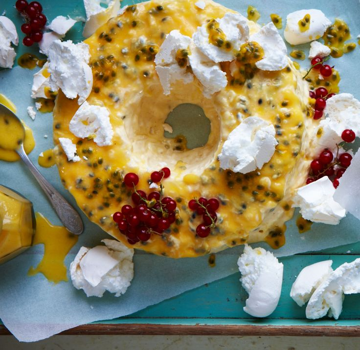 Meringue, lemon curd and passionfruit: three things we love come together for a stunning summer dessert in this frozen passionfruit pavlova