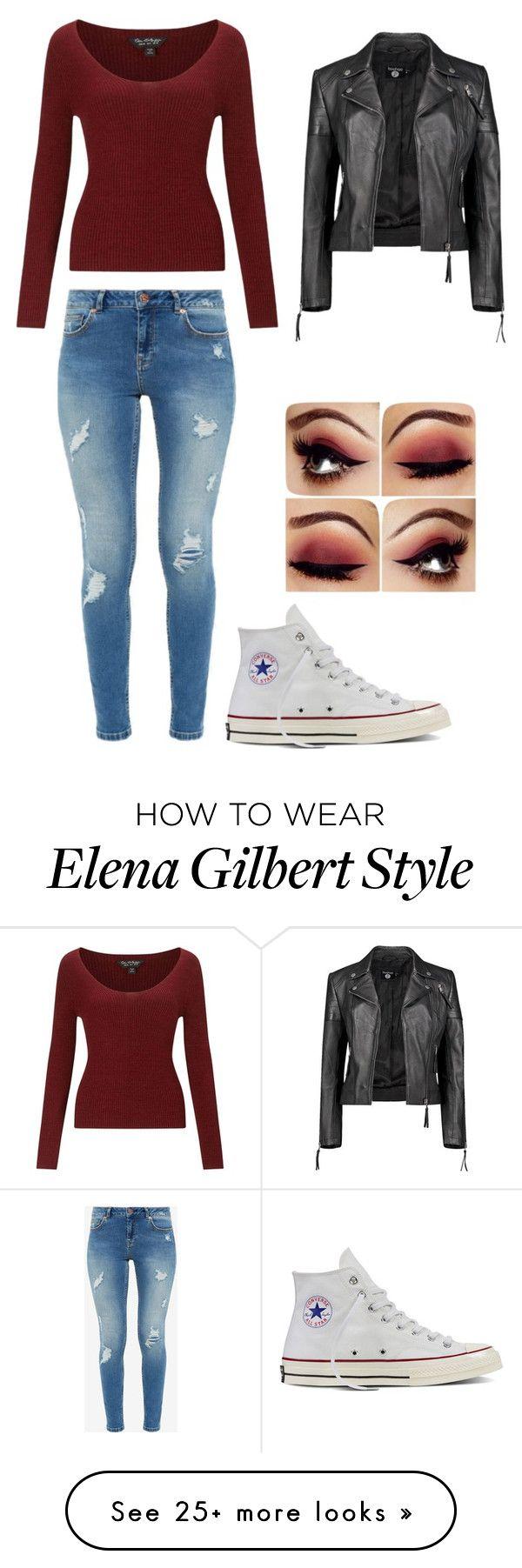 """Diy Elena Gilbert"" by hannahmarchant on Polyvore featuring Miss Selfridge, Ted Baker, Boohoo, Converse, halloweencostume and DIYHalloween"