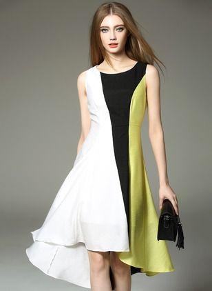 Como cuadro De seda Bloques de colores Sin mangas Asimétrico Vestidos
