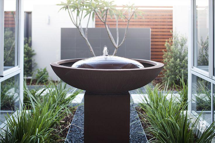 Alfresco patio backyard design. The Chianti display home by #VenturaHomes #waterfountain