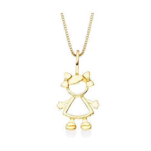 O pingente Menina Mama é confeccionado em Ouro Amarelo 18k. Esse pingente não acompanha corrente. Joias Vivara. Coleção Mama.
