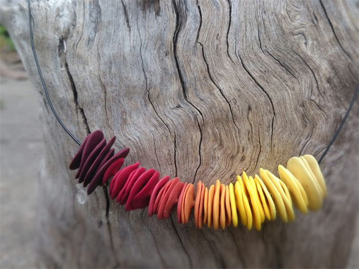 """Maker's Lab """"Fire"""" Ombre Disc Necklace $32.00 Includes delivery!"""