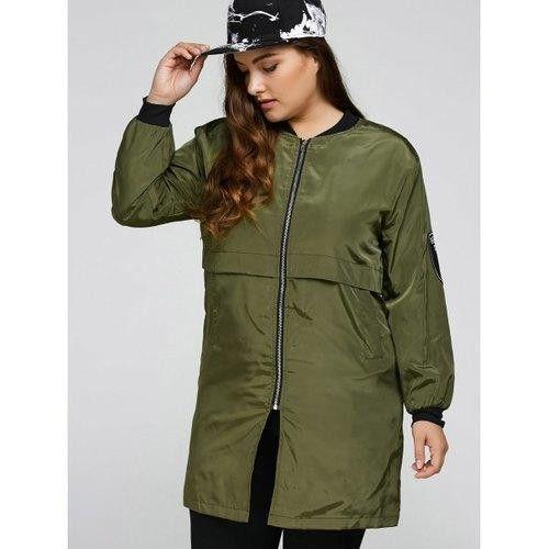 Plus Size Zip Up Long Bomber Jacket
