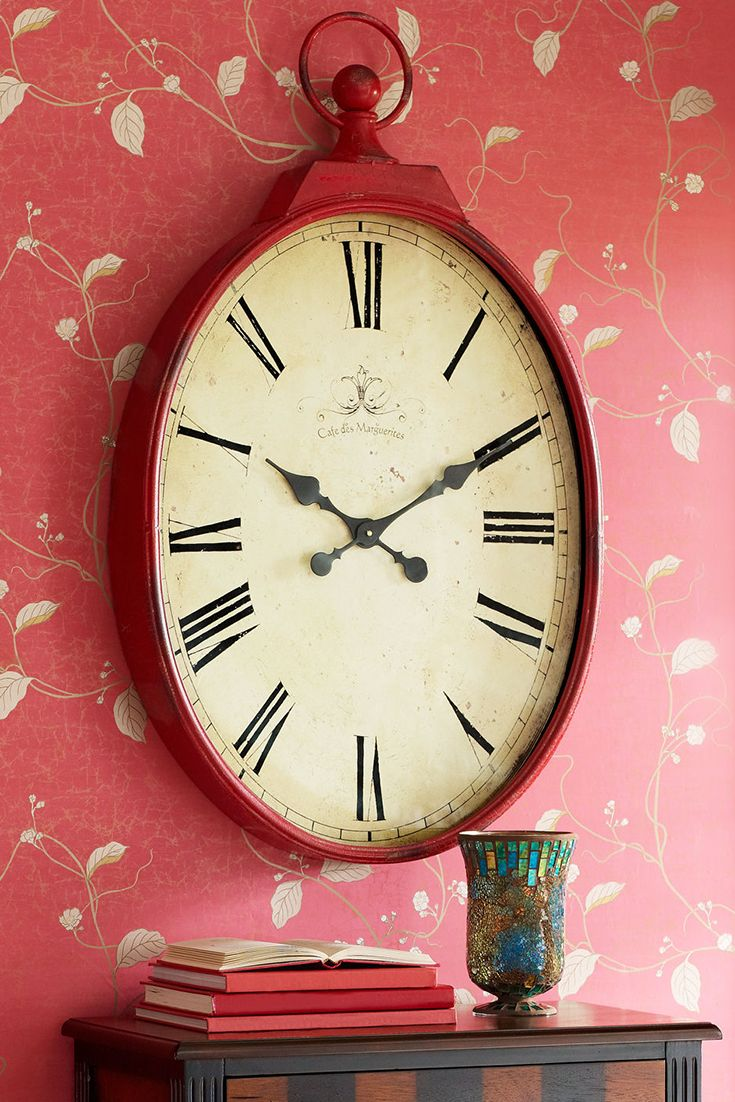 Am americana country wall clocks - Let Pier 1 S Romantically Red Antiqued Wall Clock Remind You That It S Almost Time For Valentine S