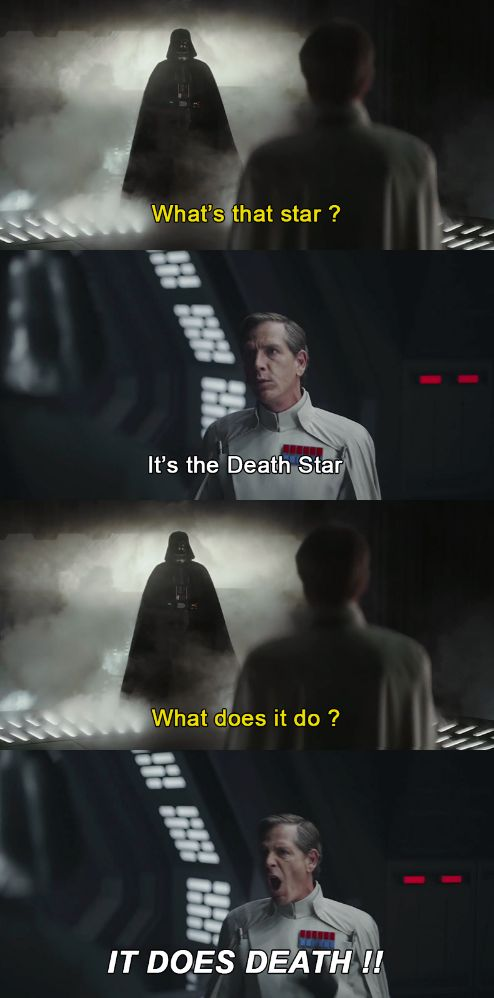 """""""It does death!"""" I love this!  -Darth Vader and Krennic-"""