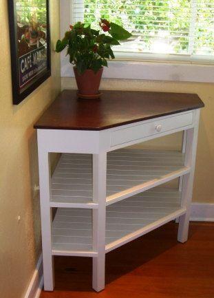 Handcrafted Corner Table Solid Wood Borboleta Decors