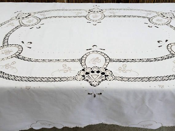 Embroidered Vintage Linen Tablecloth with Crochet Detail. Embroidered Ivory/Ecru Linen Tablecloth with Intricate Crochet Lace Inlays RBT1797