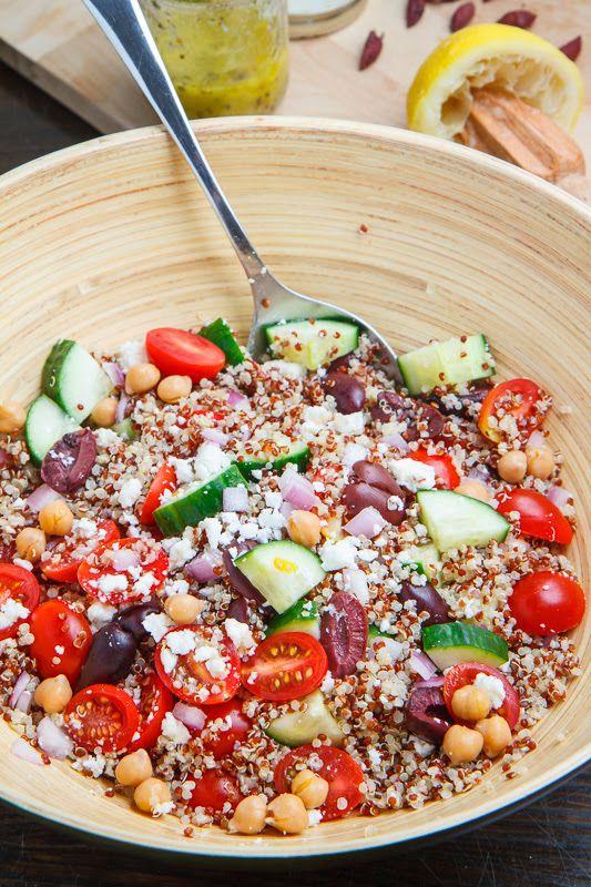 Mediterranean Quinoa Salad.  Use 1/3 Cup fresh feta in brine (rinsed).  Omit dressing ingredients in recipe,  Substitute 1 1/2 Tbsp. Cavender Greek Seasoning, 2 1/4 TBS. Lemon Juice, 1/8 Cup EVOO, 1 Clove Garlic Crushed.