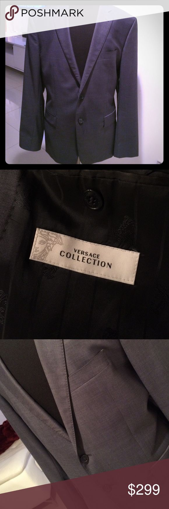 VERSACE SUIT -Worn once Classic Blue Versace suit in size 56 (or 46R) worn once.      Regular-fit   Priced to sell! Looks like charcoal grey color on.   Cheaper on merc Versace Suits & Blazers Suits