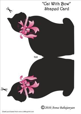 Cat With Bow Shaped Card on Craftsuprint designed by Anna Babajanyan - Very nice card of a black cat with pink bow. This card can be used for Birthday, Thinking of You, Love you, Friend's Birthday etc occasions. - Now available for download!