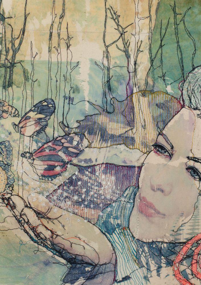 By Ditte SørensenSize A5 art cards:is not numbered and signed.The original work: Free motion embroidery on textile, photo transfer, quilted. Danish: Det originale billede - Frihåndsbroderi på symaskine, fototransfer, quiltet.