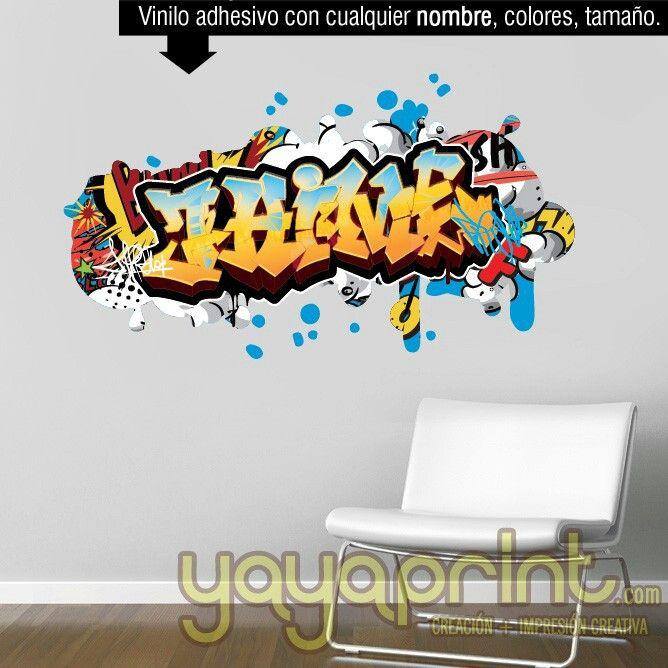 Tu nombre en graffiti de vinilo novedad muy apropiado for Vinilos para decorar habitaciones infantiles