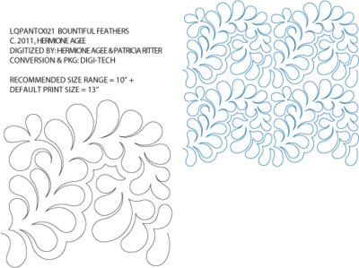 Bountiful Feathers Pantograph by Hermione Agee / Lorien Quilting LQPANTO021