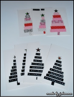 Christmas cards with tape and dymo