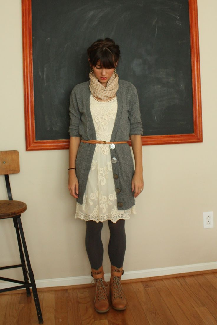 Nautical Stripes: Gray Skies and Gray Cardigans Dress, tights, cardigan, and boots