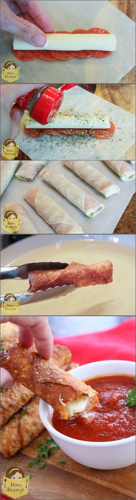 Happy Hour Pizza Rolls - Super easy pepperoni pizza rolls made from egg roll wrappers and served with warm pizza sauce. Step-by-step photos! Appetizer heaven!