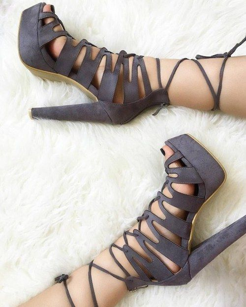 Super strappy, lace up grey heels
